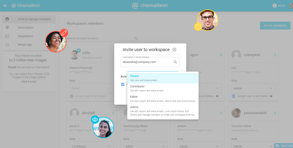 Organize your team into different roles and assign privileges