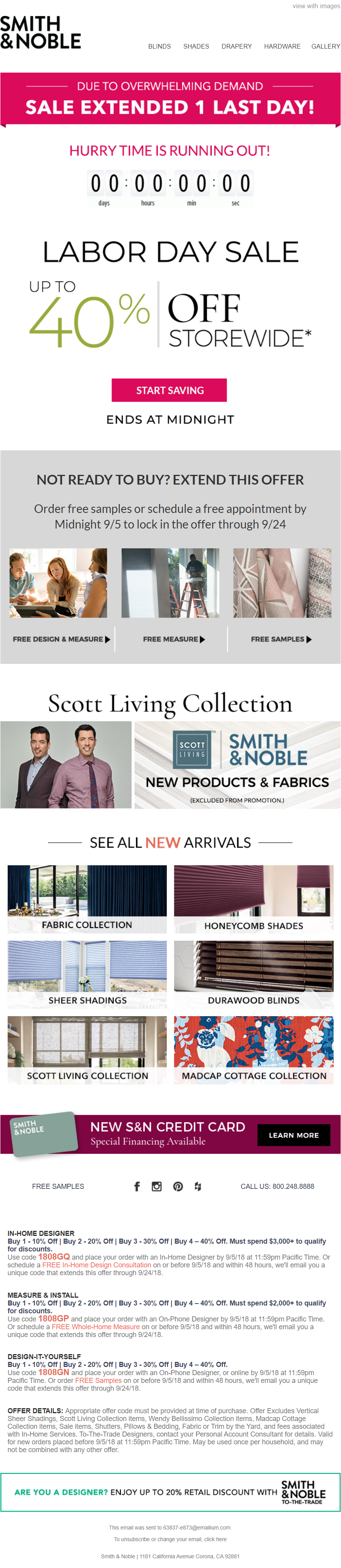 smith & nobles labor day email