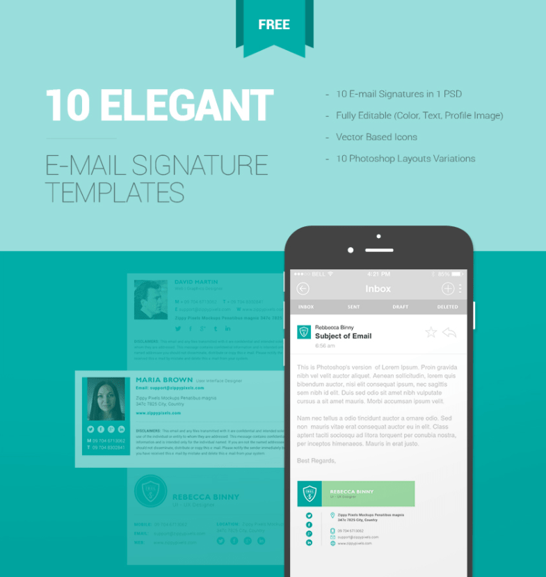 10 free email signature templates from ZippyPixels