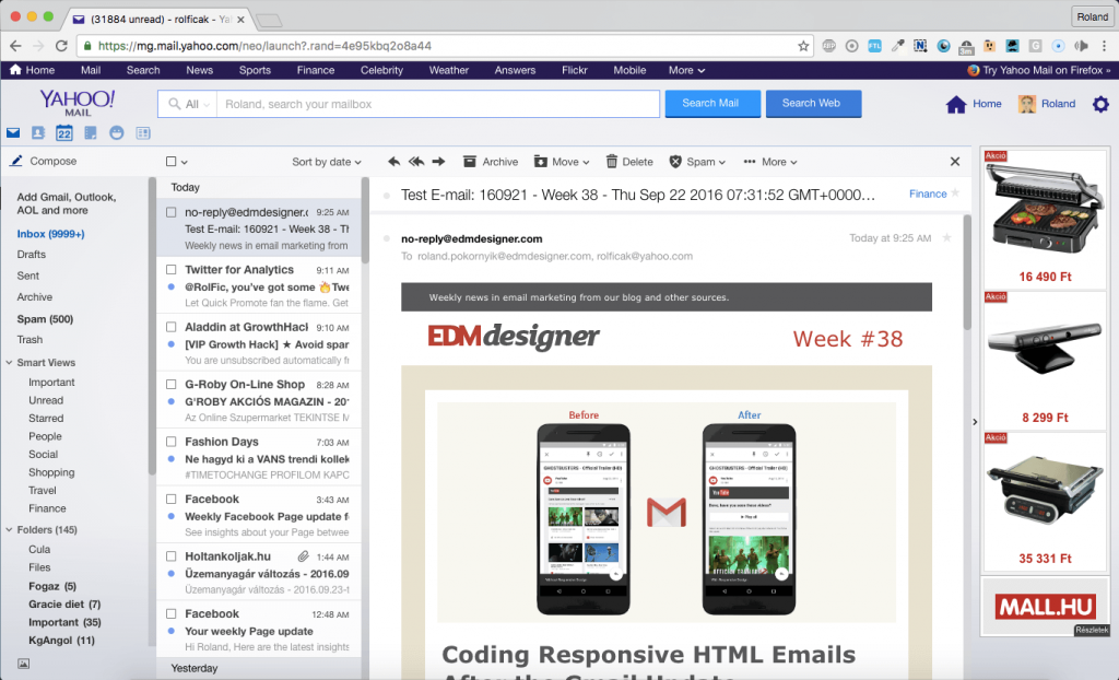 650px wide newsletter is displayed in Yahoo