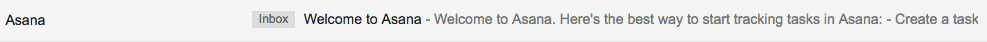 Asana welcome email subject line example