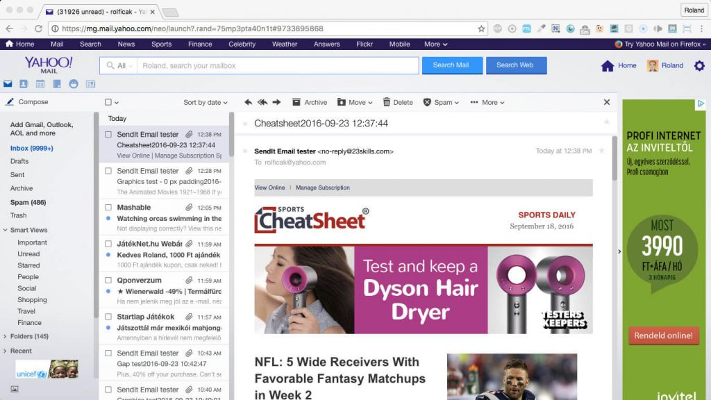 cheatsheet 970px email width newsletter template in yahoo mail