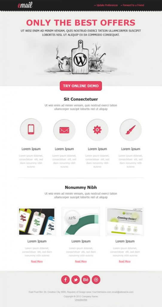 Light HTML email template example from Freemailtemplates