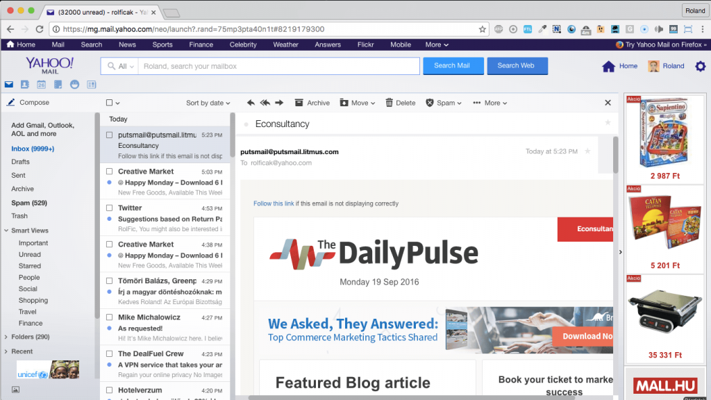 econsultancy 750px-wide responsive email template in yahoo mail