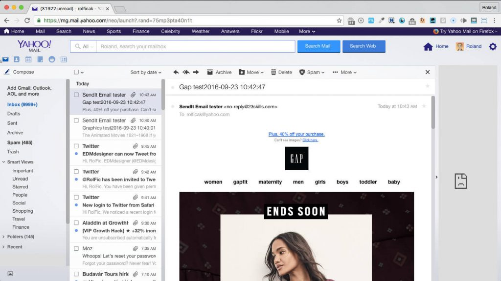 GAP 640px responsive newsletter template in yahoo mail