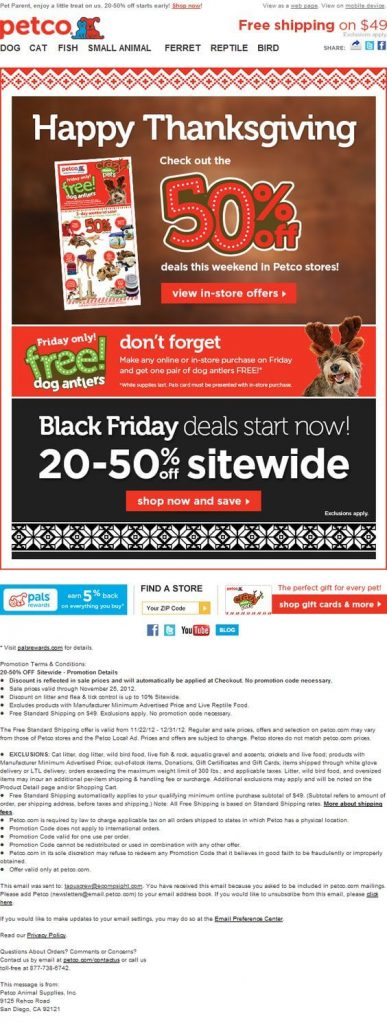 Merged Thanksgiving and Black Friday offer into one newsletter – A great example from Petco
