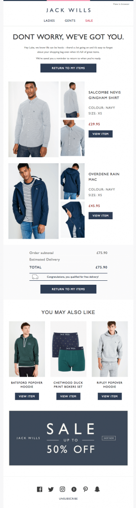 Jack Wills e-commerce cart recovery email