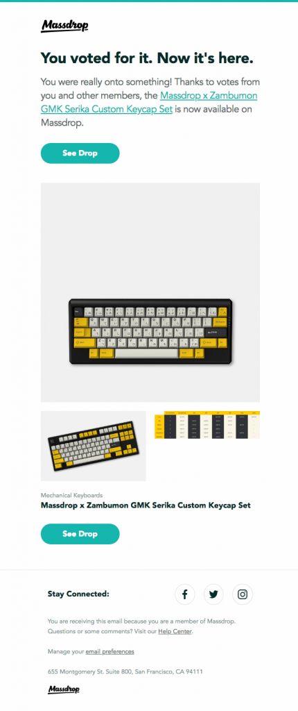 Massdrop-product-launch-email-template