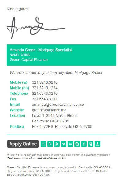 Mortgage email signature