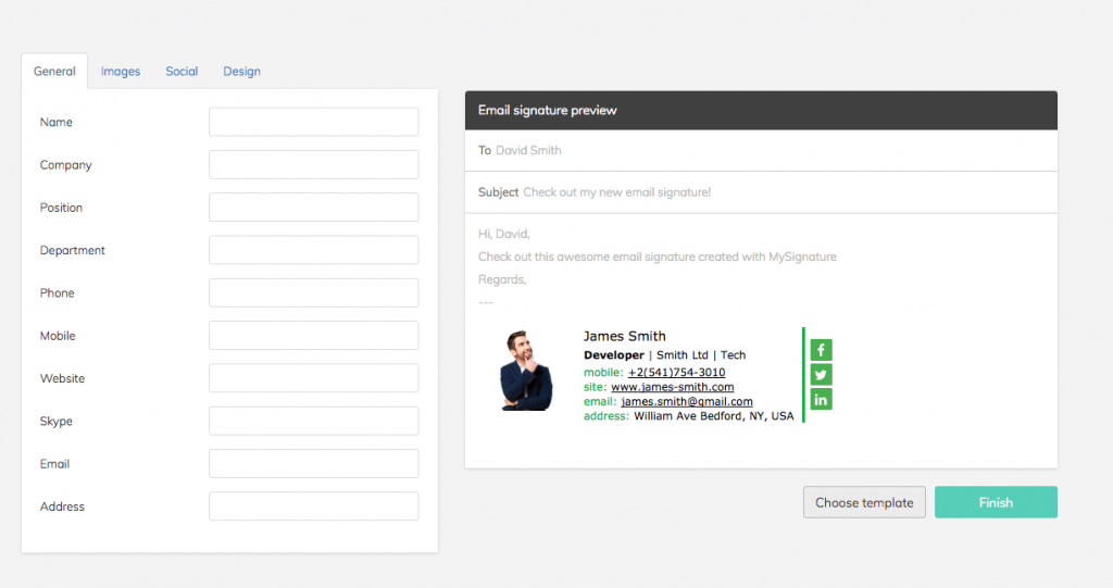 My Signature email template