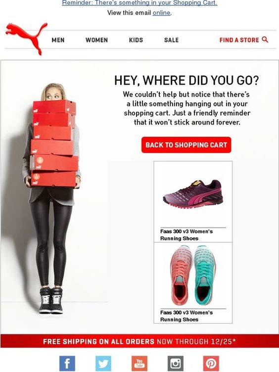 Back to shopping cart email example from Puma