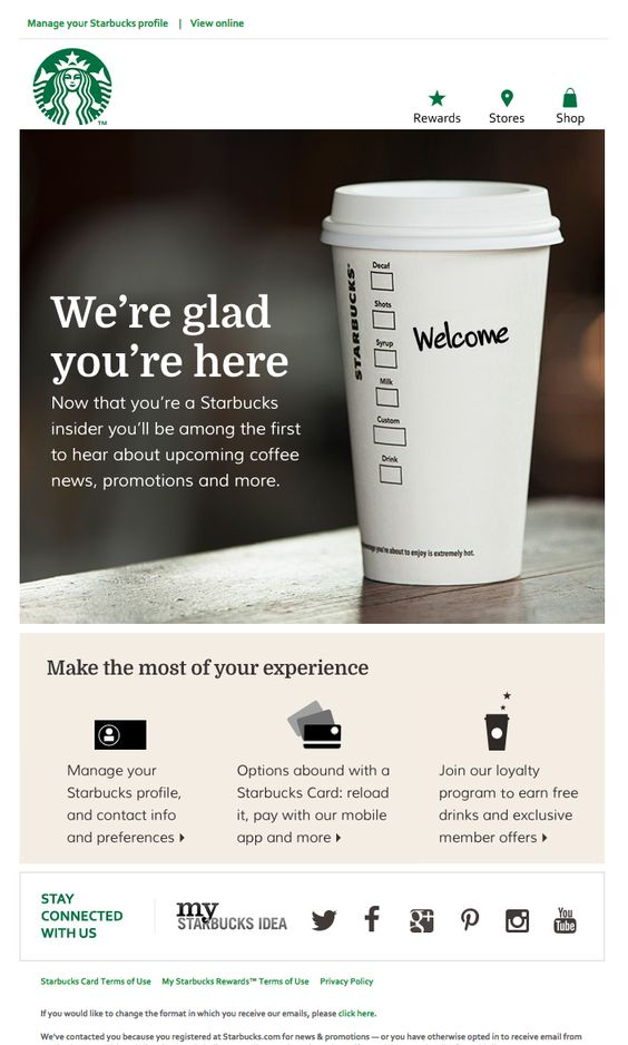 Starbucks welcome email template sample