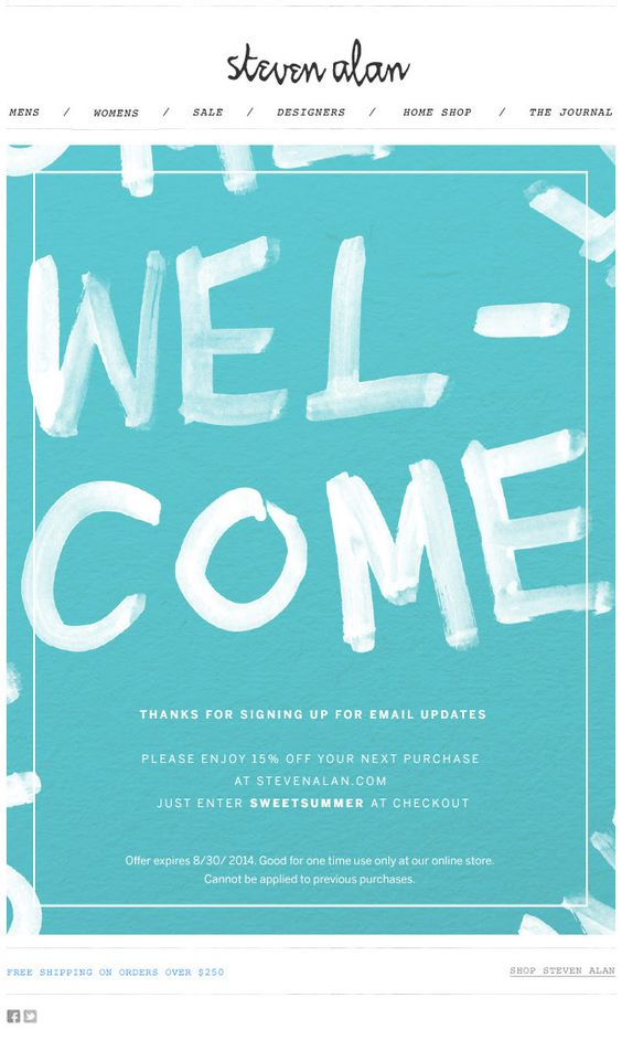 Steven alan e-commerce welcome email design example