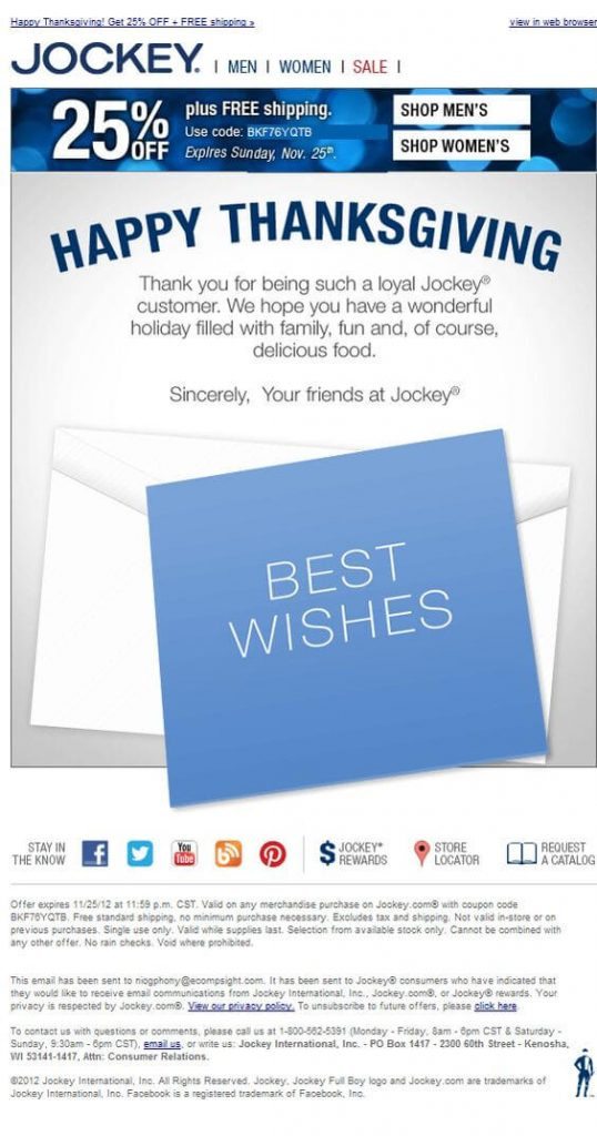 E-commerce Thanksgiving email template example from the Jockey, where discount and FREE shipping are promoted