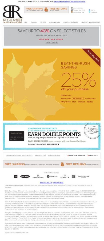 The Style Sheet's Thanksgiving e-commerce email offer