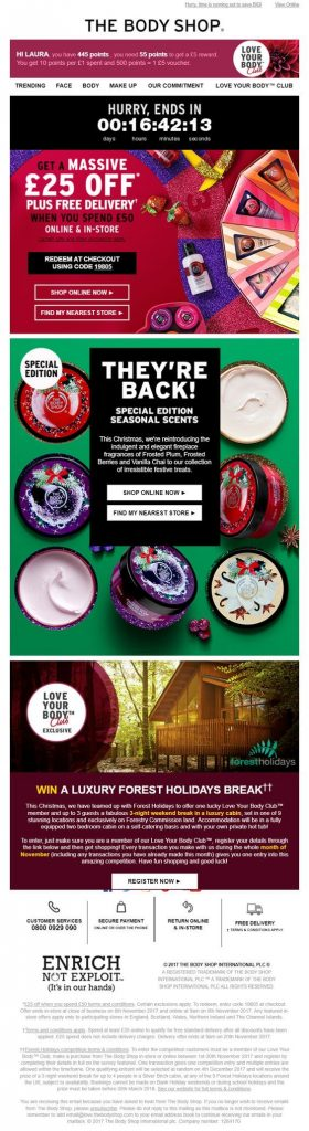 the body shop discount sample in countdown email