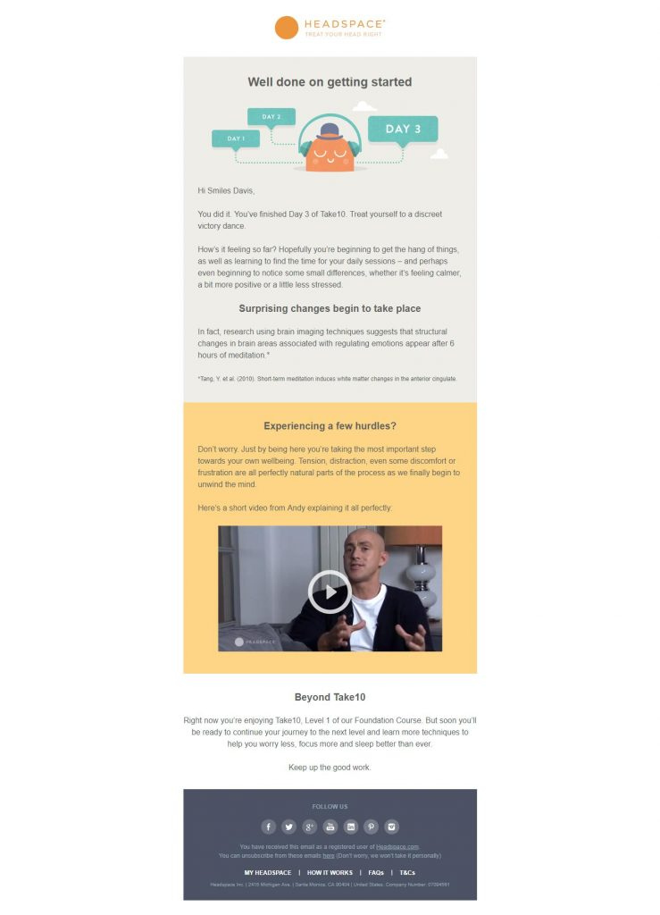 FAQ and Follow up email newsletter idea Headspace