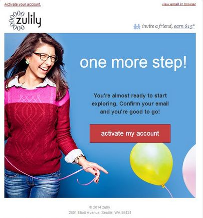 Double opt-in transactional email template by Zulily