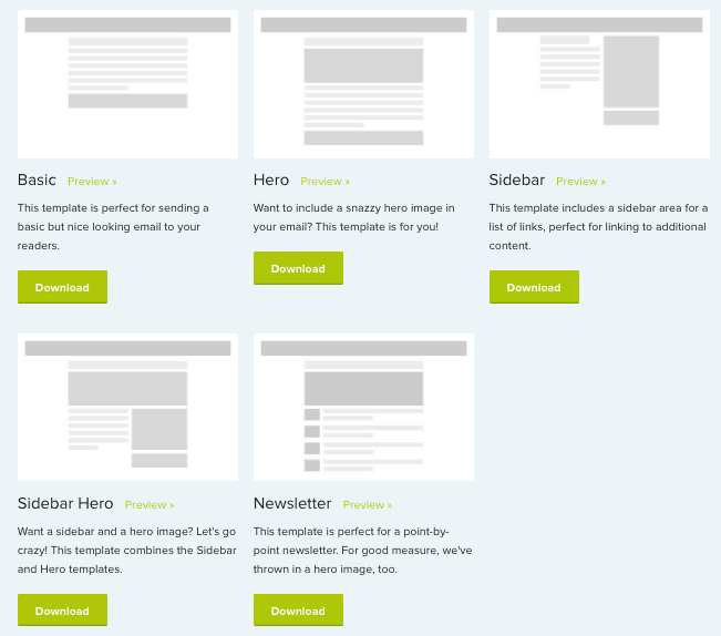 5 free email templates from Zurb
