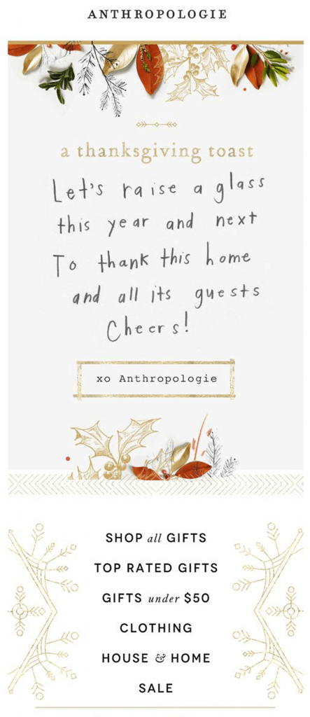 anthropologie Thanksgiving email