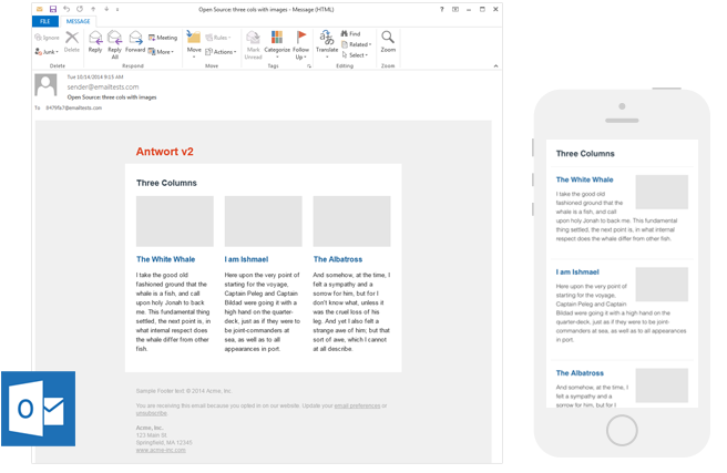 3 responsive layouts for email templates from Antwort