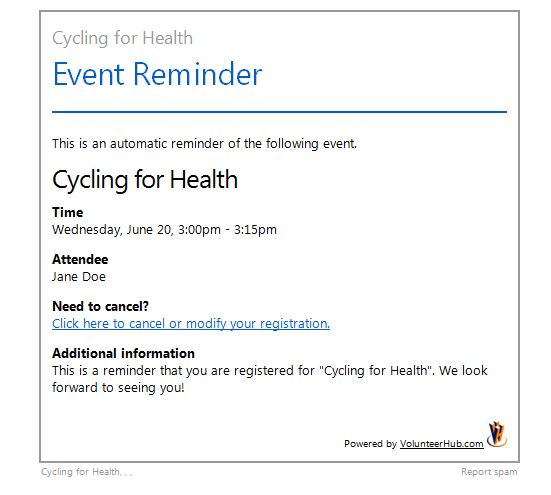 example of classic event reminder email of cycling for health