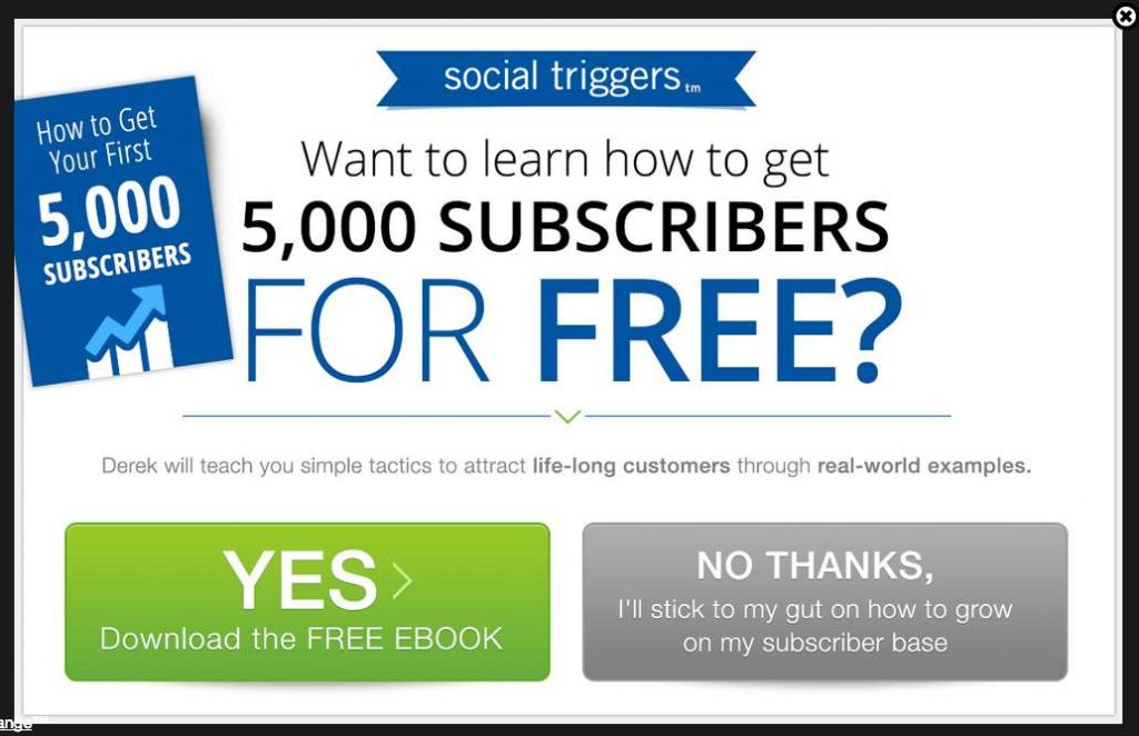 Exict popup example - want to grow your email subscribers for free?