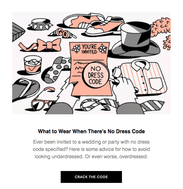 Single column newsletter content block design sample from Reallygoodemails