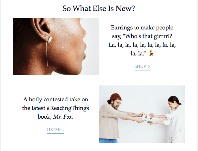 Custom images and creative email copywriting example from ofakind