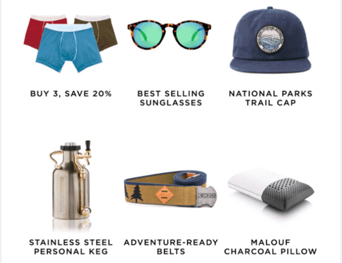 three-column content block high-quality product photos sample from Huckberry