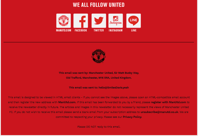 Footer design in email example from Manchester United