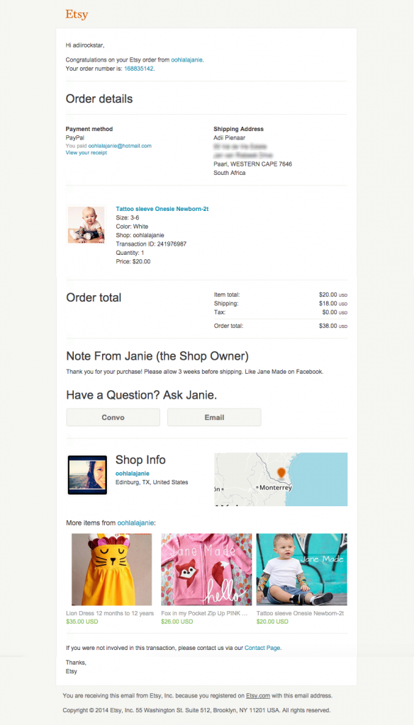 Etsy example of a great use of a thank you for your purchase email template design