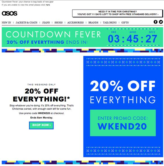 Promotional email using countdown timer