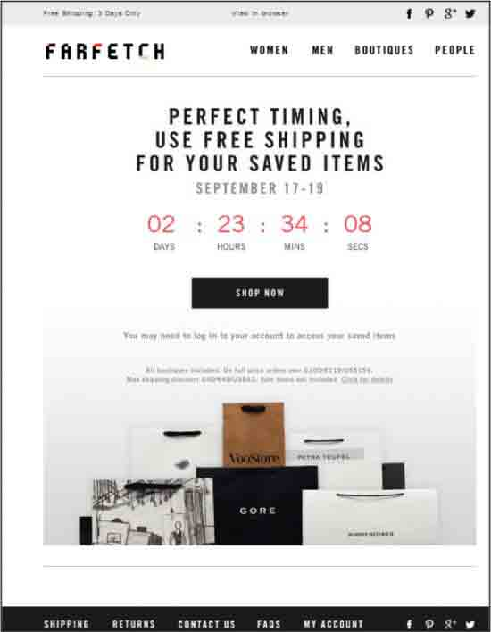 farfetch abandoned countdown email template example
