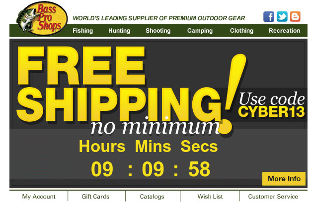 Bass pro shops free shipping countdown email sample