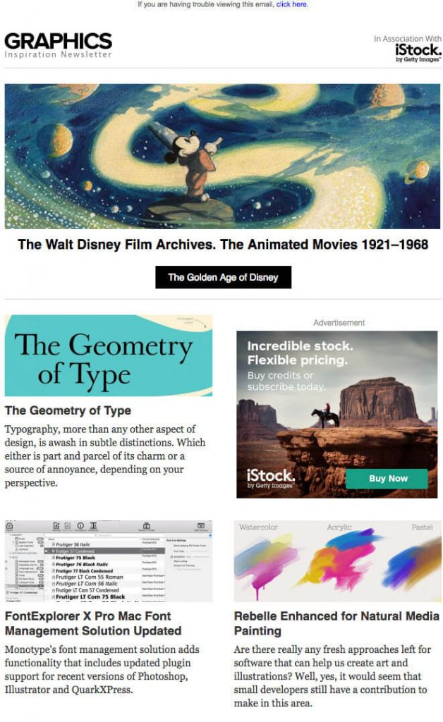 Graphics 650px email wide newsletter template
