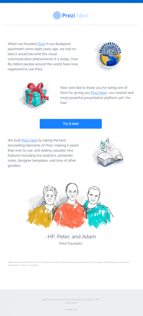 prezi-free-product-launch-email
