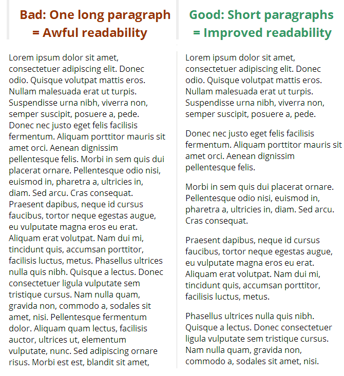 Readability comparison in the email between short and long paragpraphs