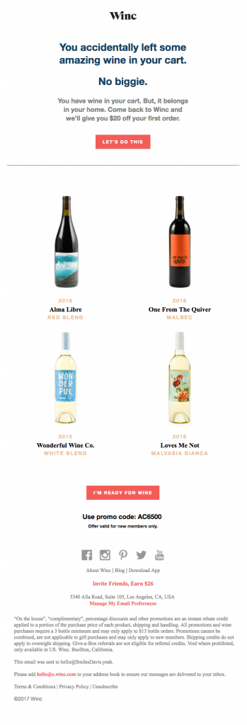 Winc offered coupon $20 off in their cart abandonment email follow up