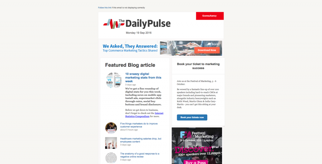 Daily Pulse 750px email width template in Yahoo