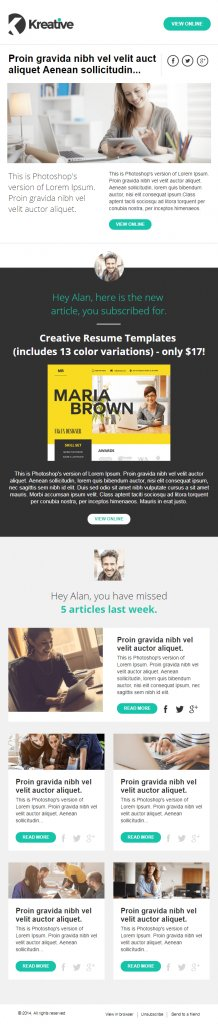 free multipurpose email newsletter from Kreative