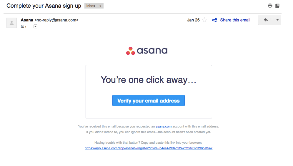 Asana confirmation email template example