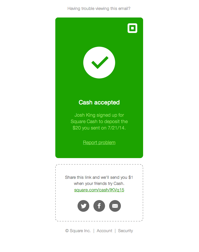 Square cash accepted transactional email design