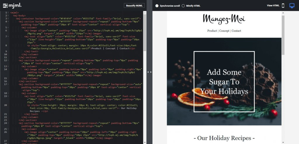 MJML Christmas html email template example with its code