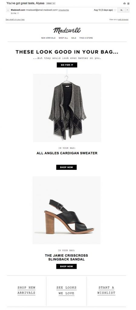 Madewell shopping cart abandon email design example
