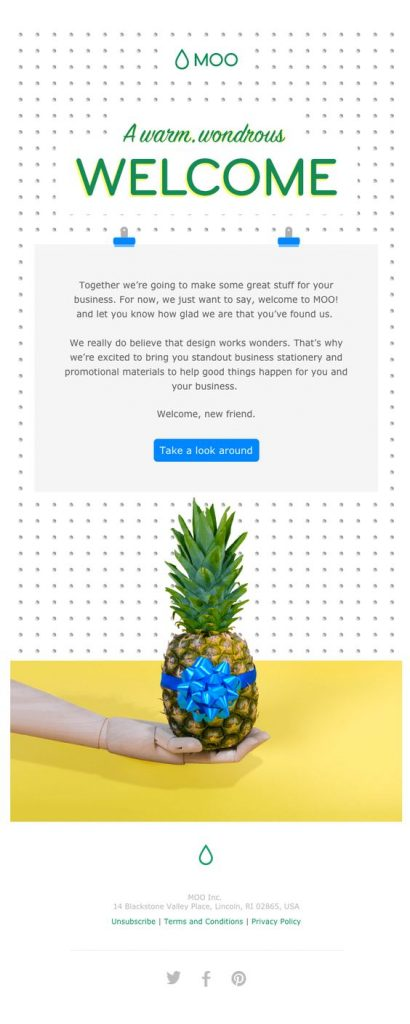 Moo warm greeting email design example