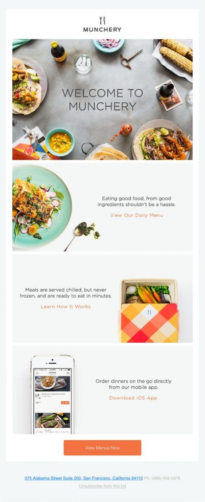 Munchery welcome email template example.