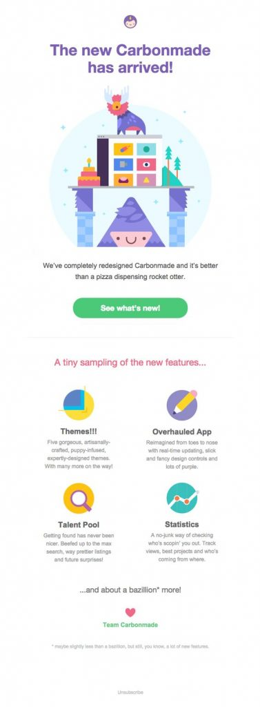 New featuresannouncement email template