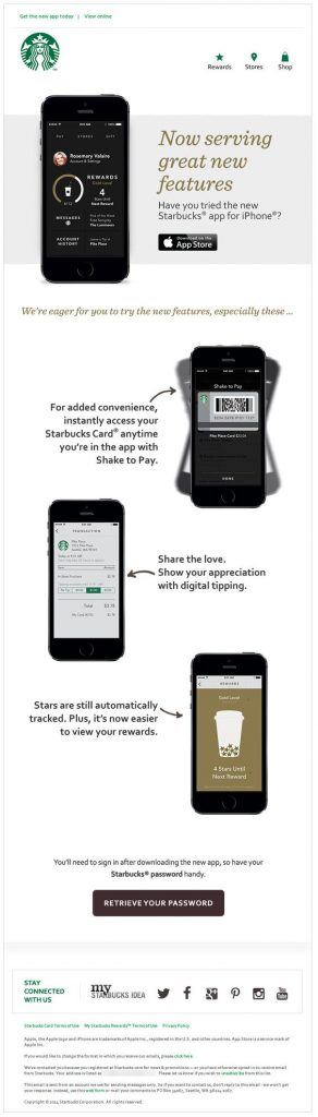 New features product update email by Starbucks