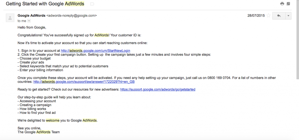 google AdWords plain welcome email
